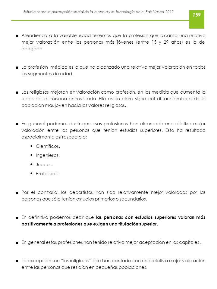 Estudio sobre la percepción social de la ciencia y la tecnología en el País Vasco 2012 Atendiendo a la variable edad tenemos que la profesión que alca