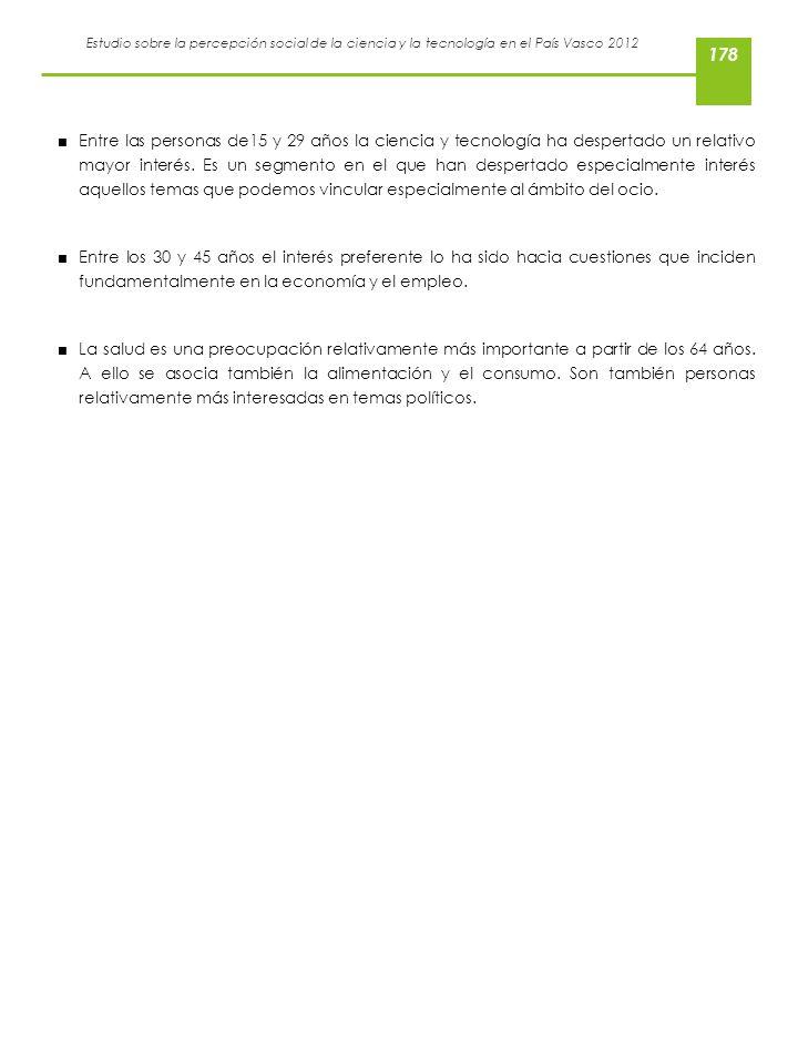 Estudio sobre la percepción social de la ciencia y la tecnología en el País Vasco 2012 Entre las personas de15 y 29 años la ciencia y tecnología ha de