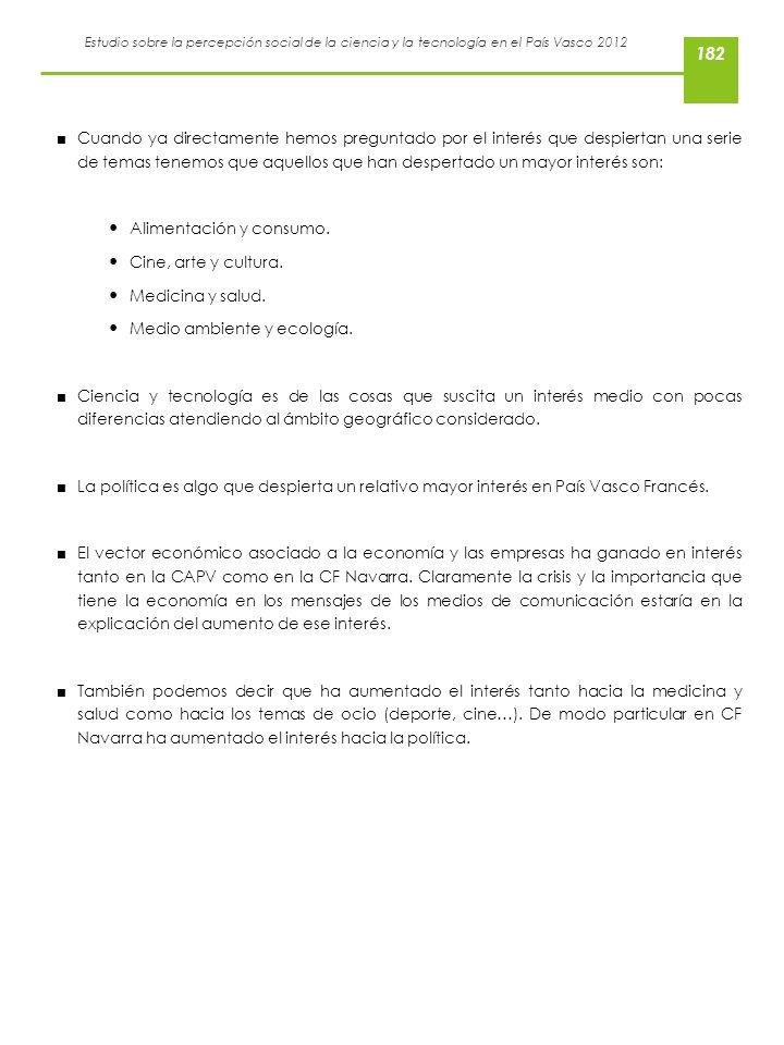 Estudio sobre la percepción social de la ciencia y la tecnología en el País Vasco 2012 Cuando ya directamente hemos preguntado por el interés que desp