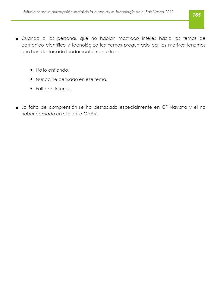 Estudio sobre la percepción social de la ciencia y la tecnología en el País Vasco 2012 Cuando a las personas que no habían mostrado interés hacia los