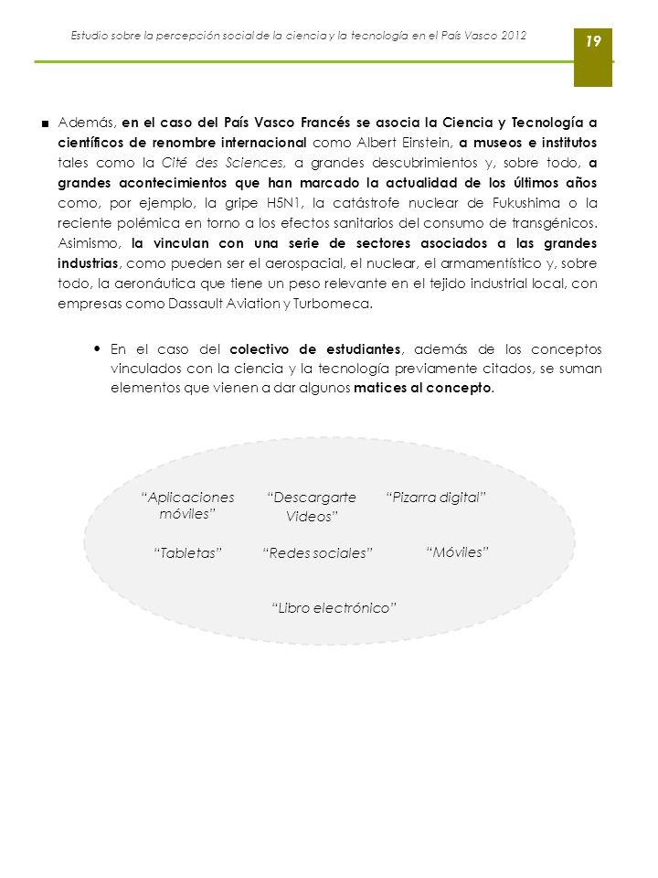 Estudio sobre la percepción social de la ciencia y la tecnología en el País Vasco 2012 19 Además, en el caso del País Vasco Francés se asocia la Cienc