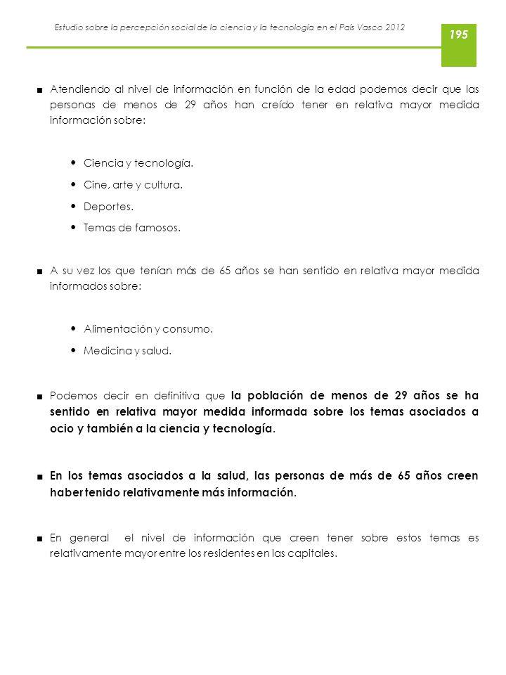 Estudio sobre la percepción social de la ciencia y la tecnología en el País Vasco 2012 Atendiendo al nivel de información en función de la edad podemo