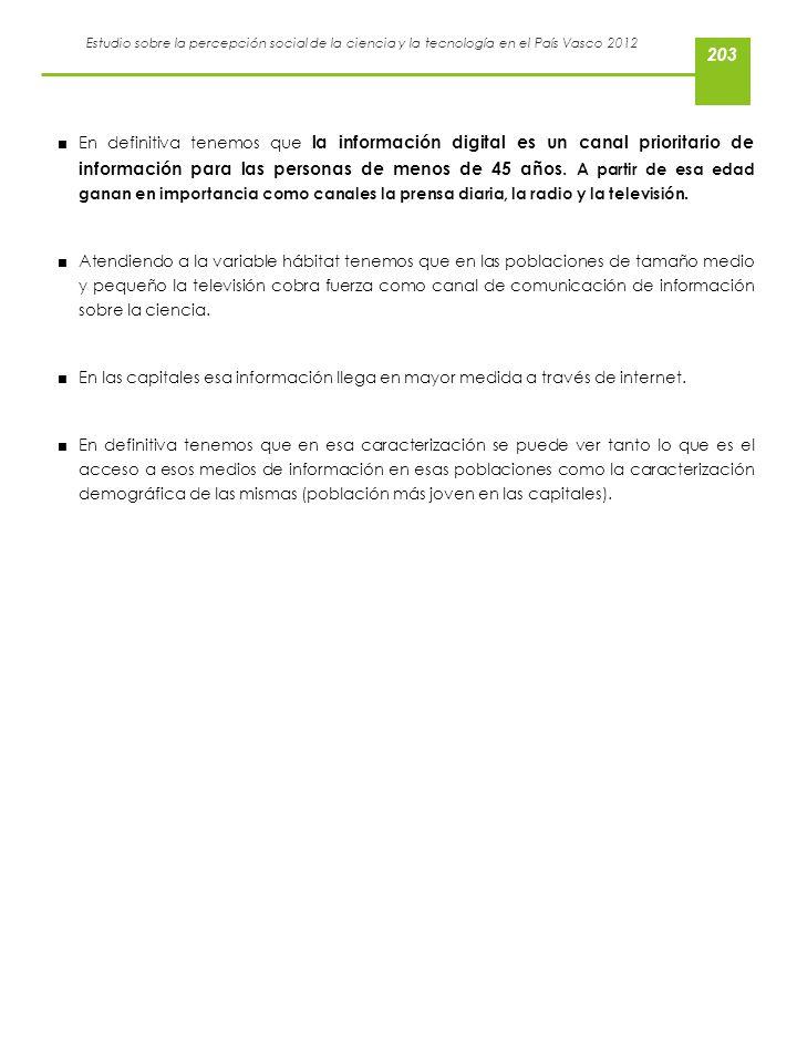 Estudio sobre la percepción social de la ciencia y la tecnología en el País Vasco 2012 En definitiva tenemos que la información digital es un canal pr