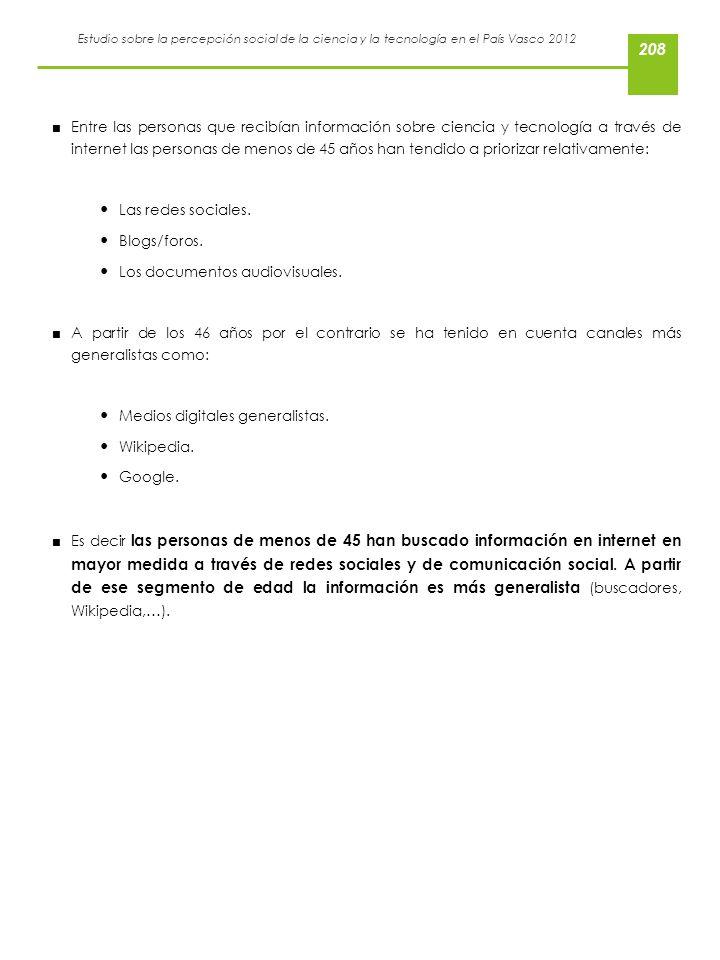 Estudio sobre la percepción social de la ciencia y la tecnología en el País Vasco 2012 Entre las personas que recibían información sobre ciencia y tec