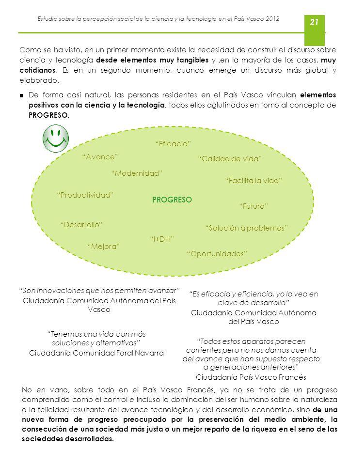 Estudio sobre la percepción social de la ciencia y la tecnología en el País Vasco 2012 21 Como se ha visto, en un primer momento existe la necesidad d