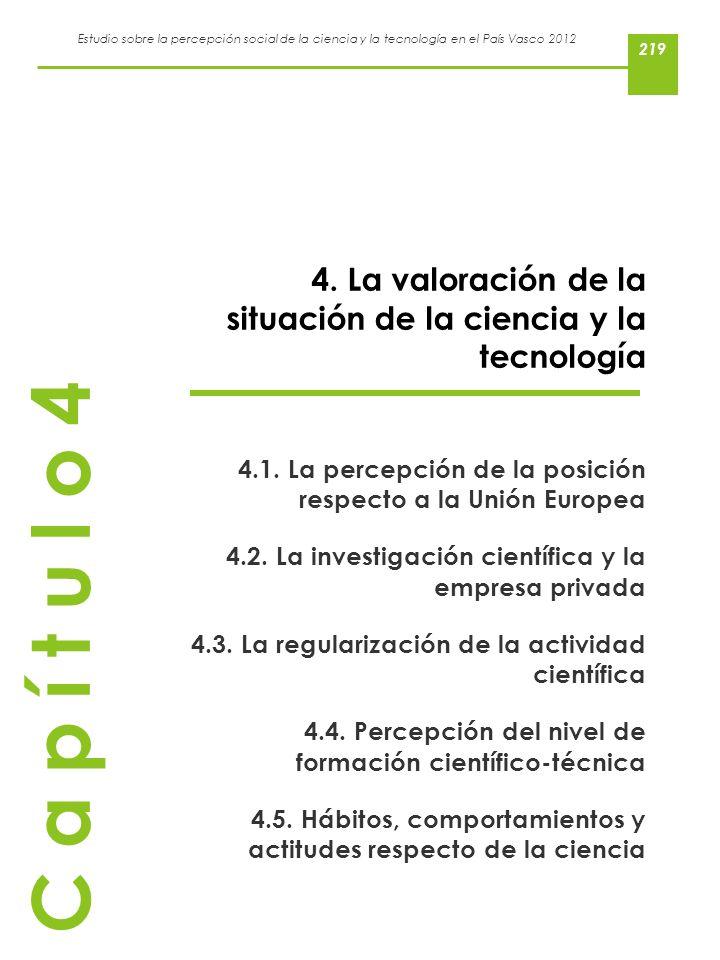 Estudio sobre la percepción social de la ciencia y la tecnología en el País Vasco 2012 4. La valoración de la situación de la ciencia y la tecnología