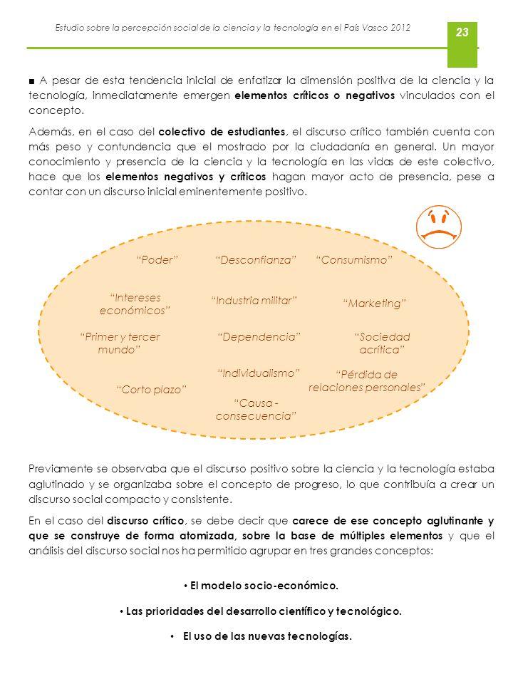 Estudio sobre la percepción social de la ciencia y la tecnología en el País Vasco 2012 23 A pesar de esta tendencia inicial de enfatizar la dimensión