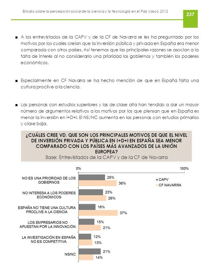 Estudio sobre la percepción social de la ciencia y la tecnología en el País Vasco 2012 A los entrevistados de la CAPV y de la CF de Navarra se les ha