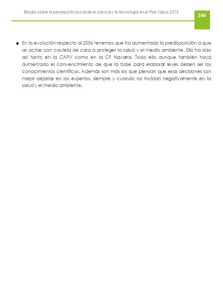 Estudio sobre la percepción social de la ciencia y la tecnología en el País Vasco 2012 En la evolución respecto al 2006 tenemos que ha aumentado la pr
