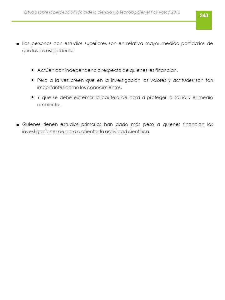 Estudio sobre la percepción social de la ciencia y la tecnología en el País Vasco 2012 Las personas con estudios superiores son en relativa mayor medi