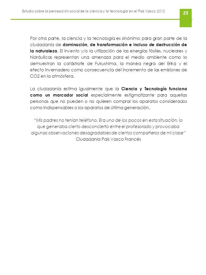 Estudio sobre la percepción social de la ciencia y la tecnología en el País Vasco 2012 25 Por otra parte, la ciencia y la tecnología es sinónimo para