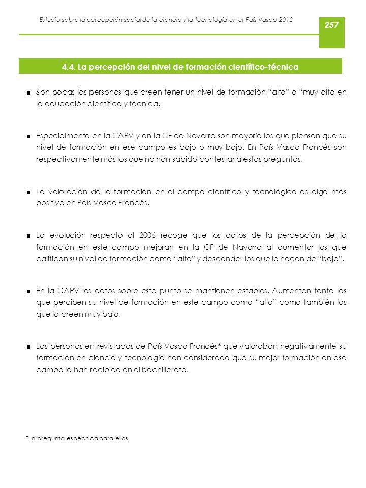 Estudio sobre la percepción social de la ciencia y la tecnología en el País Vasco 2012 Son pocas las personas que creen tener un nivel de formación al