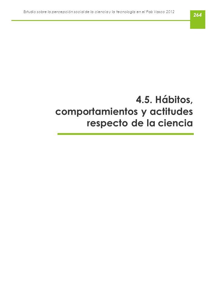 Estudio sobre la percepción social de la ciencia y la tecnología en el País Vasco 2012 4.5. Hábitos, comportamientos y actitudes respecto de la cienci