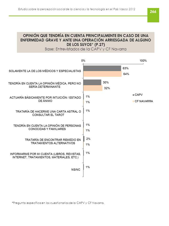 Estudio sobre la percepción social de la ciencia y la tecnología en el País Vasco 2012 OPINIÓN QUE TENDRÍA EN CUENTA PRINCIPALMENTE EN CASO DE UNA ENF