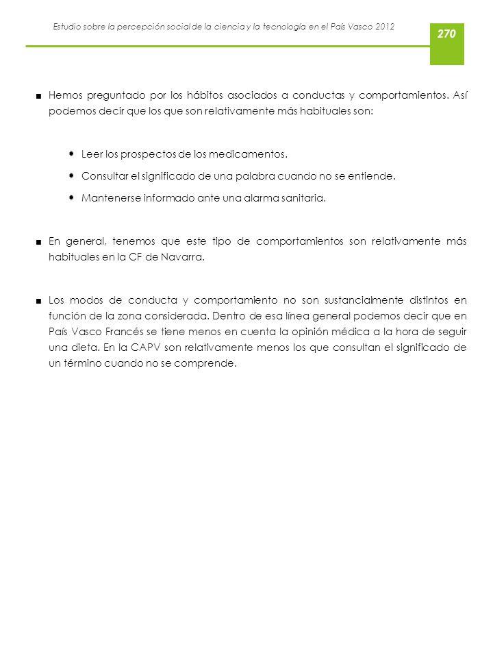Estudio sobre la percepción social de la ciencia y la tecnología en el País Vasco 2012 Hemos preguntado por los hábitos asociados a conductas y compor
