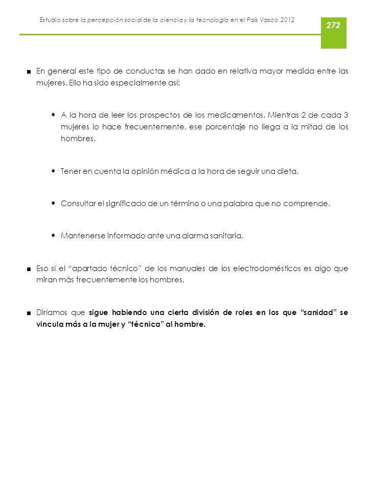 Estudio sobre la percepción social de la ciencia y la tecnología en el País Vasco 2012 En general este tipo de conductas se han dado en relativa mayor