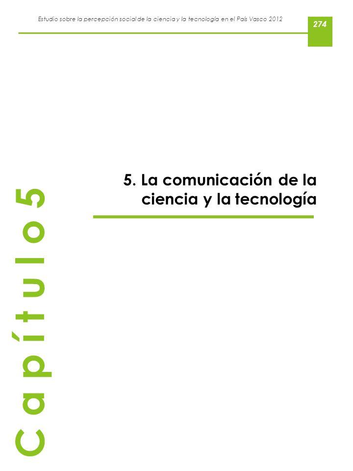 Estudio sobre la percepción social de la ciencia y la tecnología en el País Vasco 2012 5. La comunicación de la ciencia y la tecnología C a p í t u l