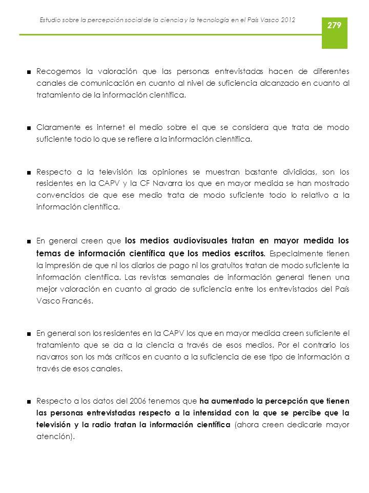 Estudio sobre la percepción social de la ciencia y la tecnología en el País Vasco 2012 Recogemos la valoración que las personas entrevistadas hacen de