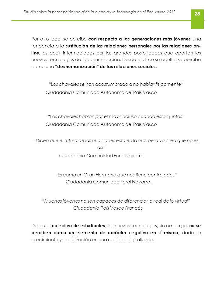 Estudio sobre la percepción social de la ciencia y la tecnología en el País Vasco 2012 28 Por otro lado, se percibe con respecto a las generaciones má
