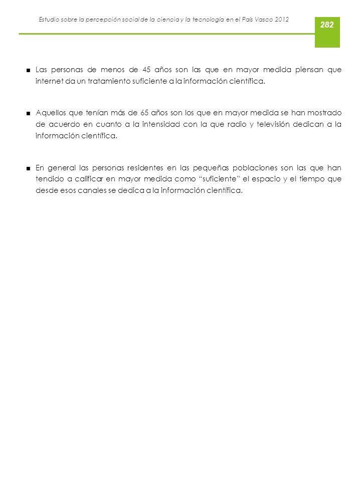 Estudio sobre la percepción social de la ciencia y la tecnología en el País Vasco 2012 Las personas de menos de 45 años son las que en mayor medida pi