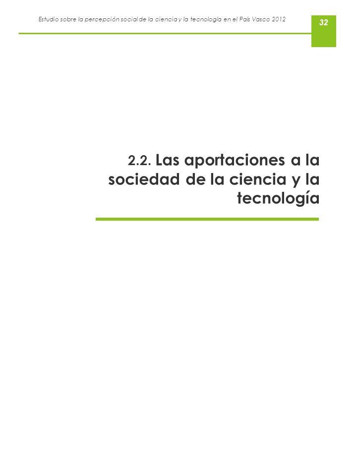 Estudio sobre la percepción social de la ciencia y la tecnología en el País Vasco 2012 32 2.2. Las aportaciones a la sociedad de la ciencia y la tecno