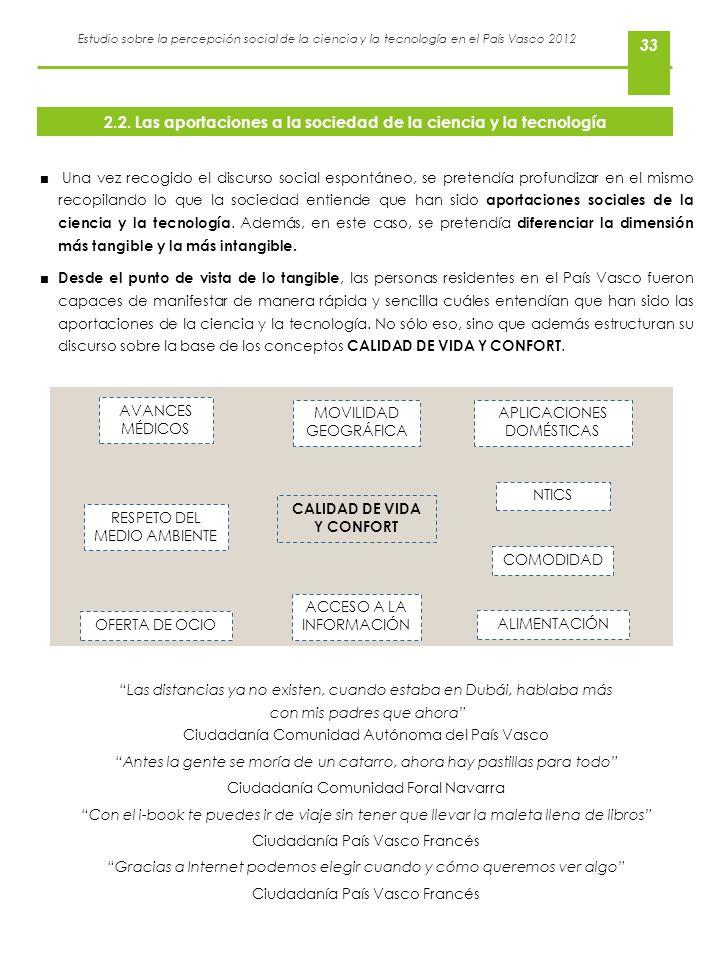 Estudio sobre la percepción social de la ciencia y la tecnología en el País Vasco 2012 33 Una vez recogido el discurso social espontáneo, se pretendía
