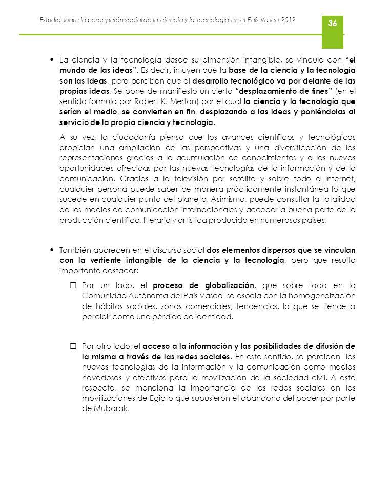 Estudio sobre la percepción social de la ciencia y la tecnología en el País Vasco 2012 36 La ciencia y la tecnología desde su dimensión intangible, se