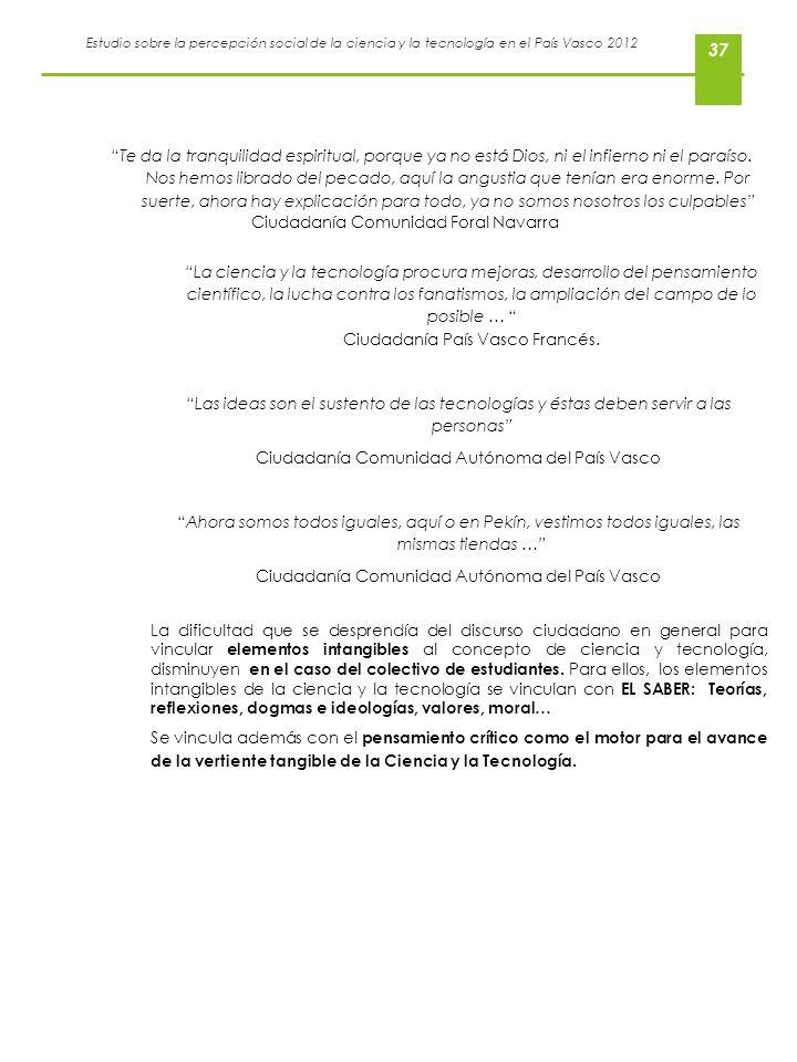 Estudio sobre la percepción social de la ciencia y la tecnología en el País Vasco 2012 37 Te da la tranquilidad espiritual, porque ya no está Dios, ni