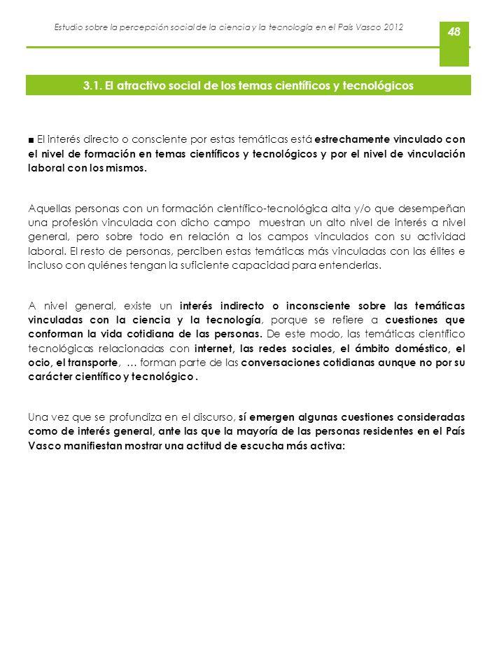 Estudio sobre la percepción social de la ciencia y la tecnología en el País Vasco 2012 48 El interés directo o consciente por estas temáticas está est