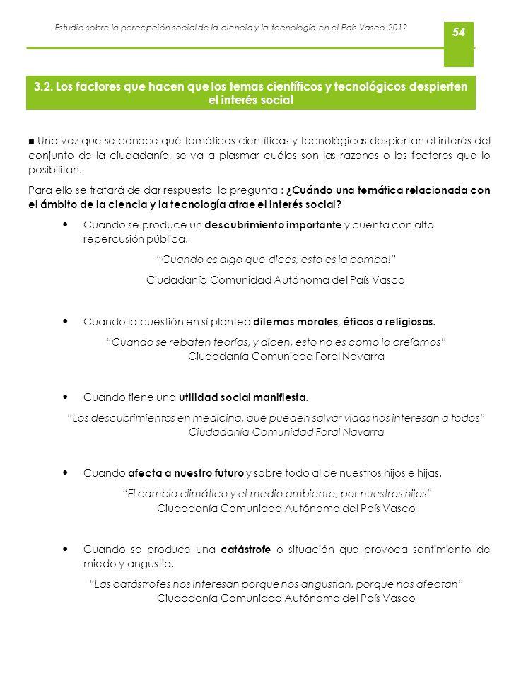Estudio sobre la percepción social de la ciencia y la tecnología en el País Vasco 2012 54 Una vez que se conoce qué temáticas científicas y tecnológic
