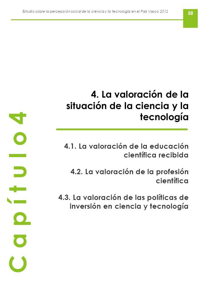 Estudio sobre la percepción social de la ciencia y la tecnología en el País Vasco 2012 58 4. La valoración de la situación de la ciencia y la tecnolog