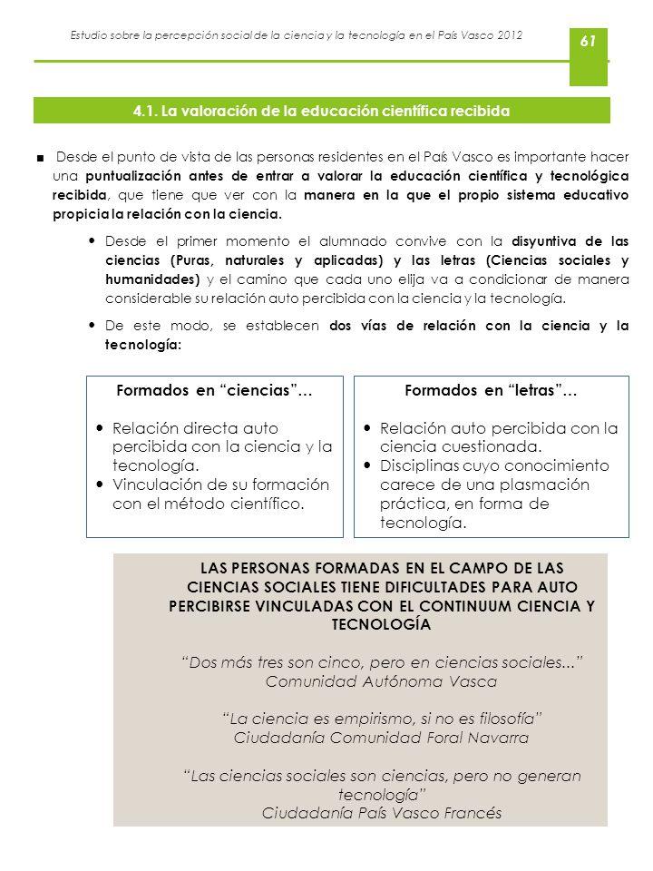 Estudio sobre la percepción social de la ciencia y la tecnología en el País Vasco 2012 61 Desde el punto de vista de las personas residentes en el Paí