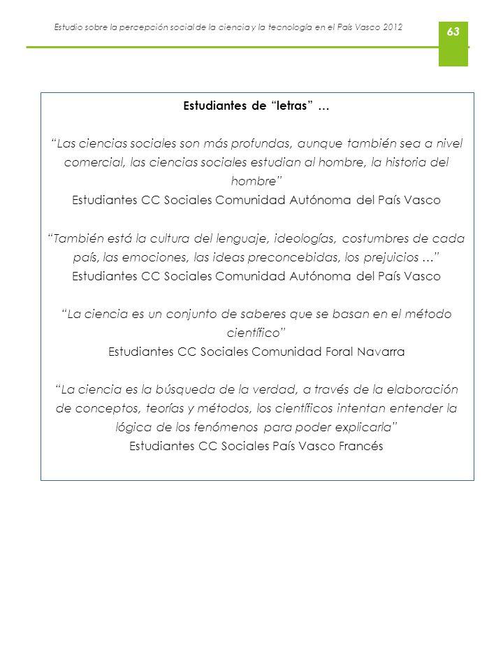 Estudio sobre la percepción social de la ciencia y la tecnología en el País Vasco 2012 63 Estudiantes de letras … Las ciencias sociales son más profun