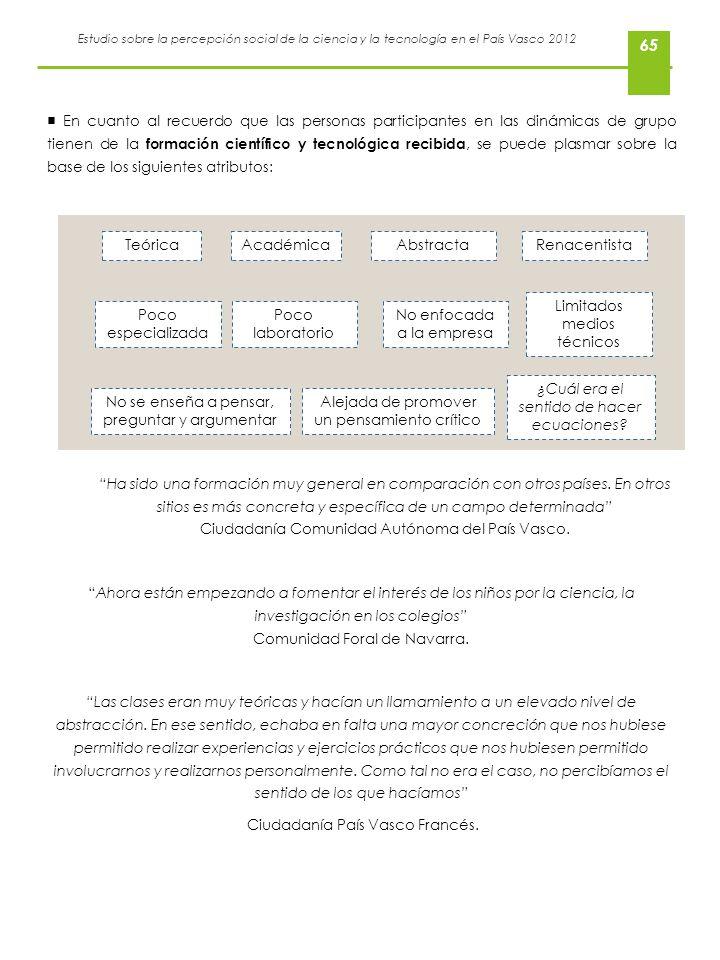 Estudio sobre la percepción social de la ciencia y la tecnología en el País Vasco 2012 En cuanto al recuerdo que las personas participantes en las din