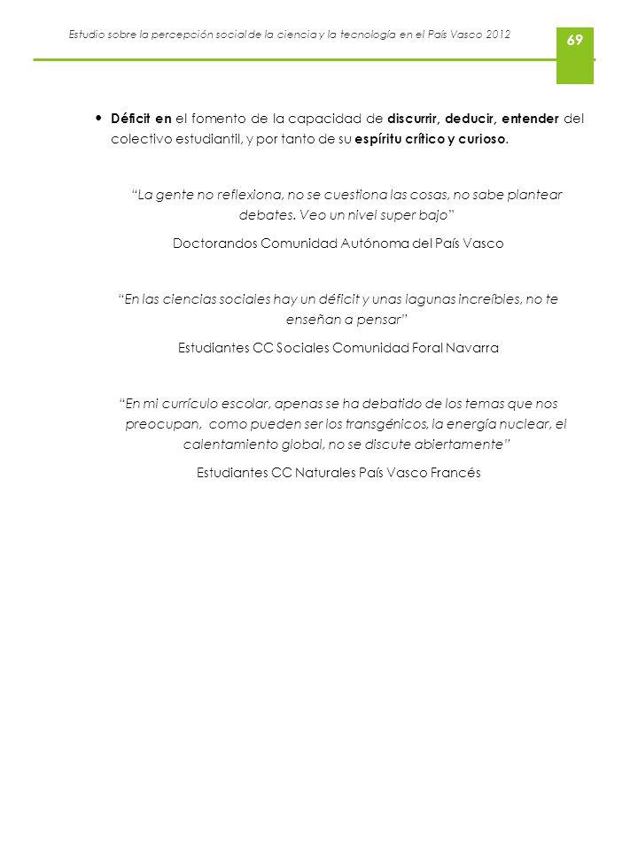 Estudio sobre la percepción social de la ciencia y la tecnología en el País Vasco 2012 69 Déficit en el fomento de la capacidad de discurrir, deducir,