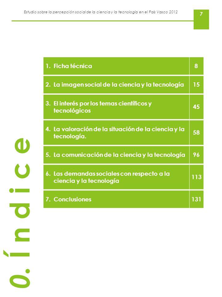 Estudio sobre la percepción social de la ciencia y la tecnología en el País Vasco 2012 7 0. Í n d i c e 1.Ficha técnica8 2.La imagen social de la cien