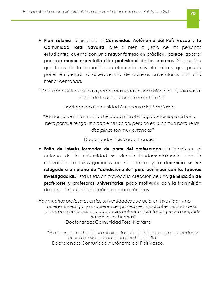 Estudio sobre la percepción social de la ciencia y la tecnología en el País Vasco 2012 70 Plan Bolonia, a nivel de la Comunidad Autónoma del País Vasc