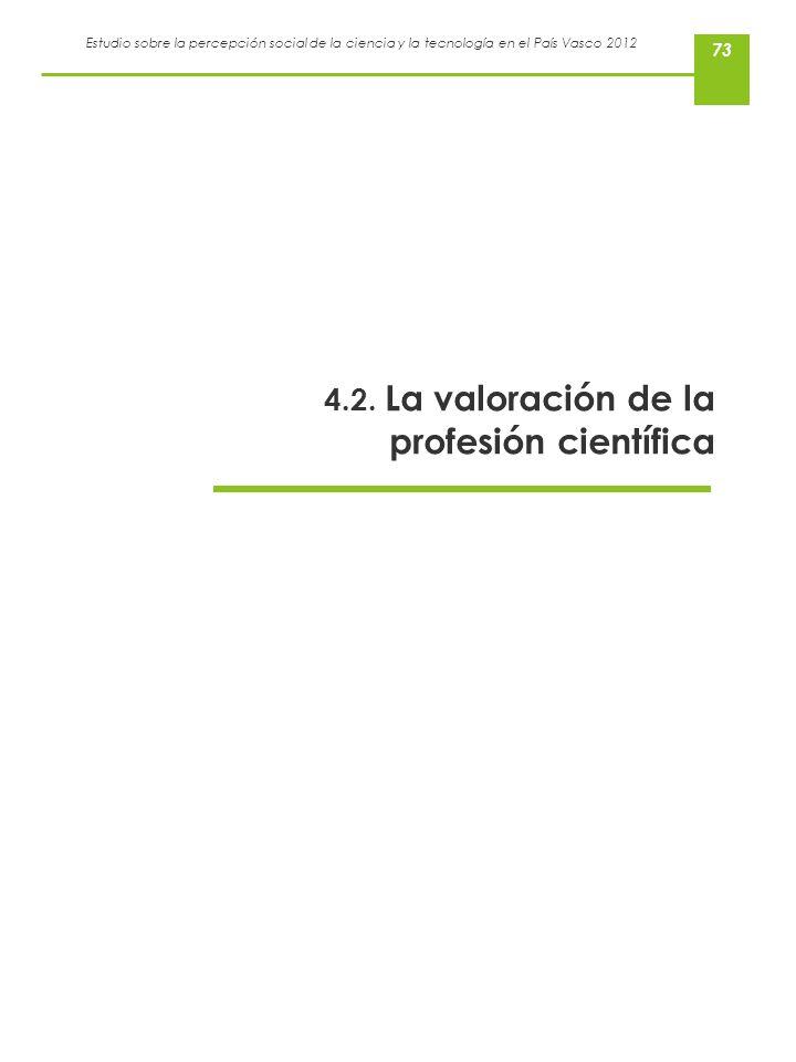 Estudio sobre la percepción social de la ciencia y la tecnología en el País Vasco 2012 73 4.2. La valoración de la profesión científica