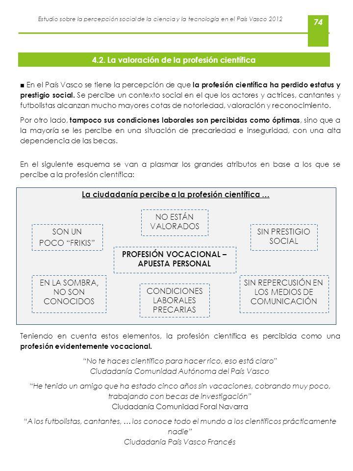 Estudio sobre la percepción social de la ciencia y la tecnología en el País Vasco 2012 74 En el País Vasco se tiene la percepción de que la profesión