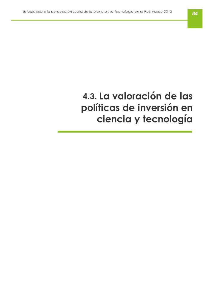 Estudio sobre la percepción social de la ciencia y la tecnología en el País Vasco 2012 84 4.3. La valoración de las políticas de inversión en ciencia