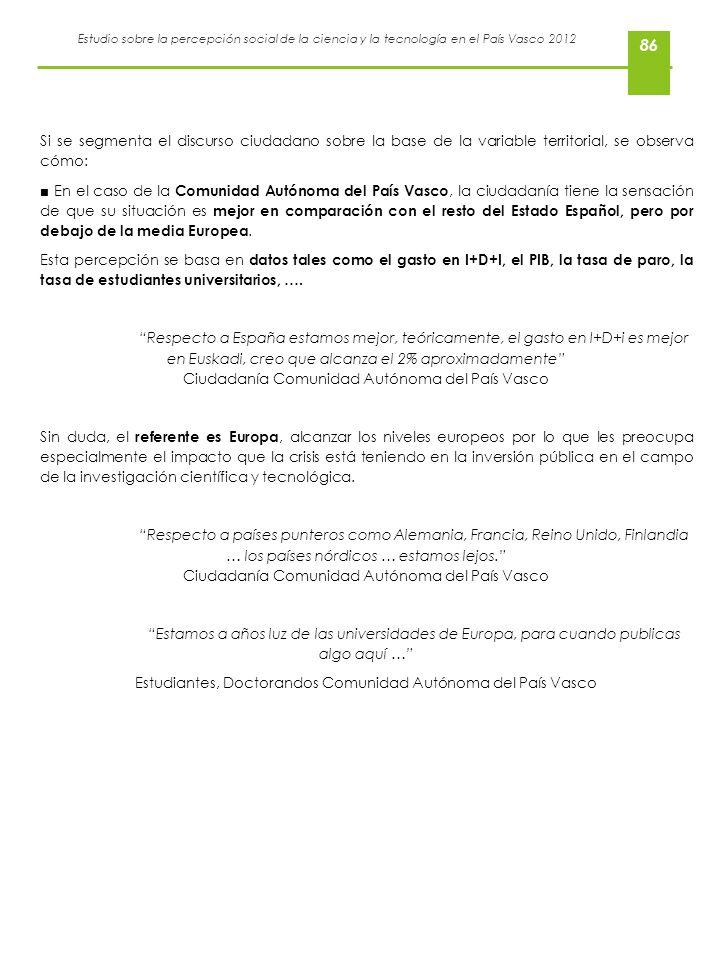Estudio sobre la percepción social de la ciencia y la tecnología en el País Vasco 2012 86 Si se segmenta el discurso ciudadano sobre la base de la var