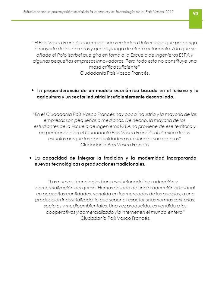 Estudio sobre la percepción social de la ciencia y la tecnología en el País Vasco 2012 93 El País Vasco Francés carece de una verdadera Universidad qu