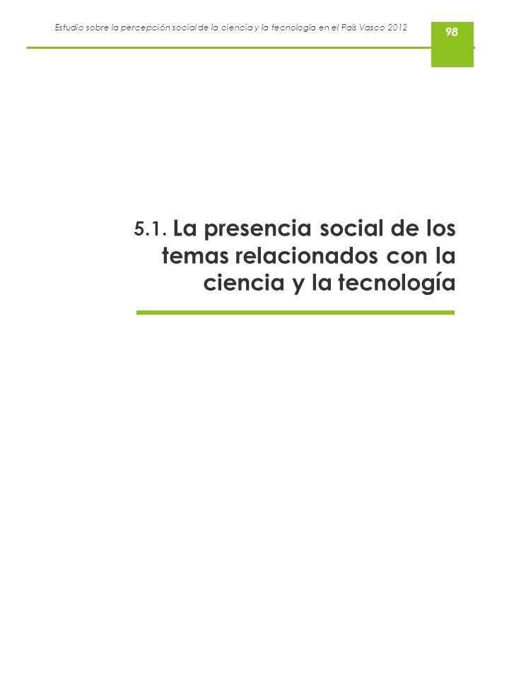 Estudio sobre la percepción social de la ciencia y la tecnología en el País Vasco 2012 5.1. La presencia social de los temas relacionados con la cienc