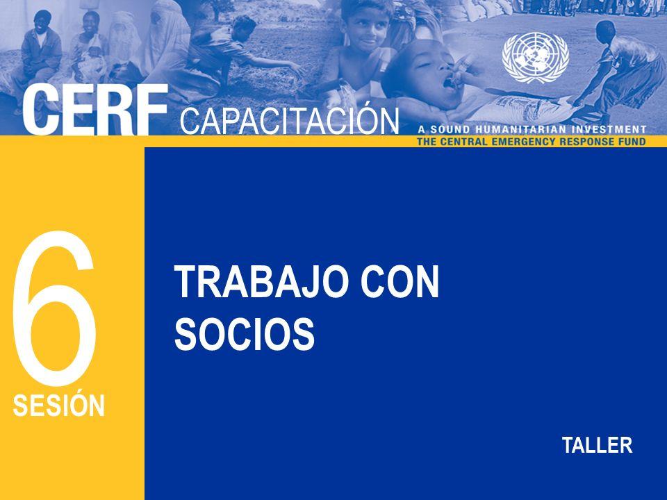 CAPACITACIÓN DEL CERF CAPACITACIÓN TRABAJO CON SOCIOS 6 SESIÓN TALLER