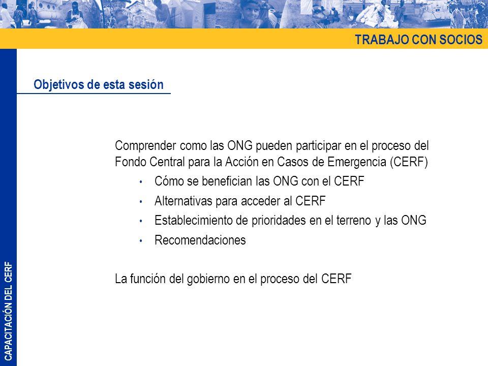 CAPACITACIÓN DEL CERF Comprender como las ONG pueden participar en el proceso del Fondo Central para la Acción en Casos de Emergencia (CERF) Cómo se b