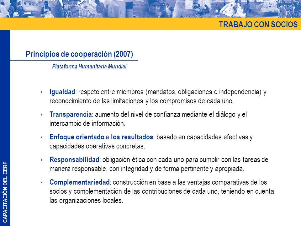 CAPACITACIÓN DEL CERF Igualdad : respeto entre miembros (mandatos, obligaciones e independencia) y reconocimiento de las limitaciones y los compromiso