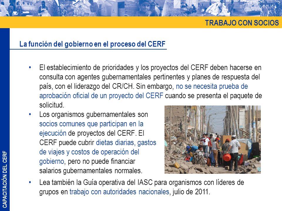 CAPACITACIÓN DEL CERF Los organismos gubernamentales son socios comunes que participan en la ejecución de proyectos del CERF. El CERF puede cubrir die