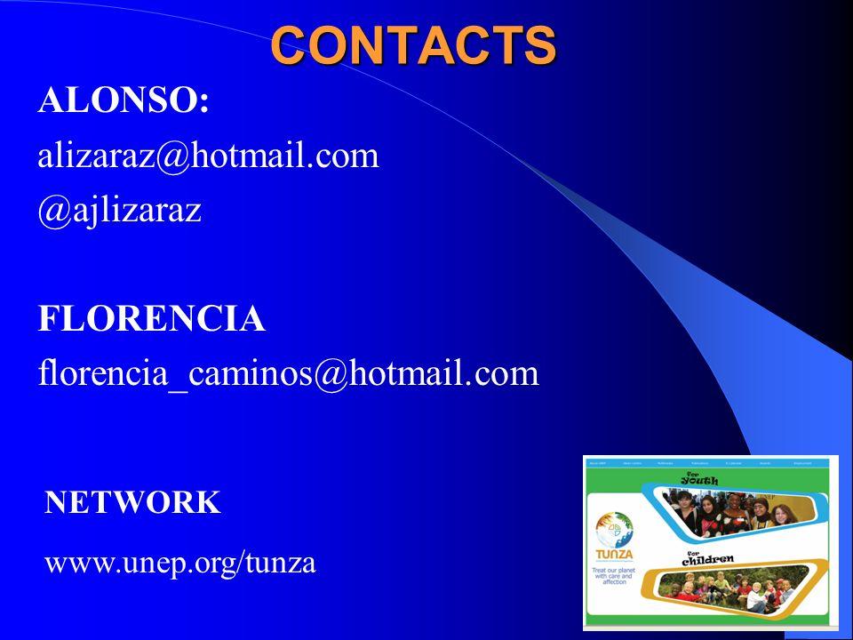 ALONSO: alizaraz@hotmail.com @ajlizaraz FLORENCIA florencia_caminos@hotmail.comCONTACTS NETWORK www.unep.org/tunza