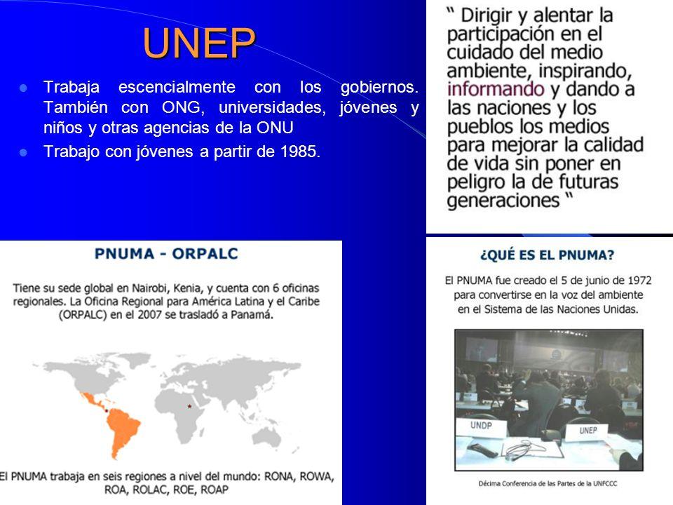 UNEP Trabaja escencialmente con los gobiernos.