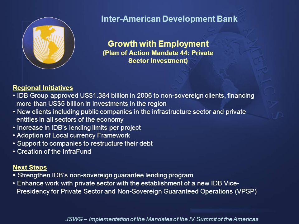 Inter-American Development Bank Growth with Employment (Plan of Action Mandate 44: Private Sector Investment) Regional Initiatives IDB Group approved